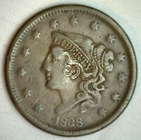 1838 Coronet Large Cent US Copper Type Coin Very Fine Newcomb N11 M1 VF Penny
