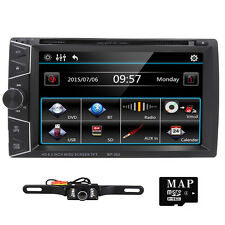 "Universal 6.2"" HD Car DVD Player GPS Map Radio Stereo Bluetooth TV +Rear Camera"