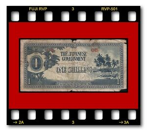 SCARCE BLOCK #OB OCEANIA JAPANESE GOVERNMENT P-2 ONE SHILLING 1942 WWII BANKNOTE