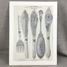1880 Silver Fish Cutlery Flatware Advertisement Large Original Antique Print