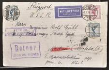GERMANY Russia GERMANY 1931 Label on UNUSUAL Return Airmail Flight Cover BERLIN>