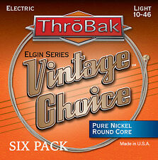 6 Pack ThroBak Vintage Choice Pure Nickel Electric Guitar Strings Light 10-46