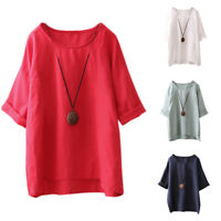 Womens Short Sleeve Loose Tops Blouse Ladies Summer Casual Tee T Shirt Plus Size
