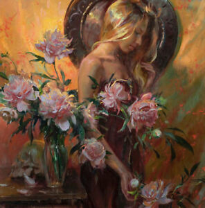 LMOP589 long hair lady & beautiful flowers hand painted art oil painting canvas