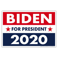 "Political Campaign Yard Sign w/Stake - Joe Biden 2020 - Double-Sided, 18"" x 12"""