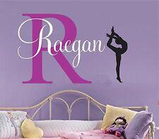 Girls name decal gymnast wall decal Gymnastics Vinyl Sticker Decals Art Decor