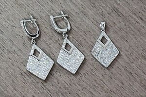 925 Sterling Silver & Rhodium Plating Microsetting Cz Earrings + Pendant Wedding