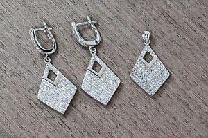 925 Sterling Silver & Rhodium Plating Microsetting Cz Earrings + Pendant Wedding