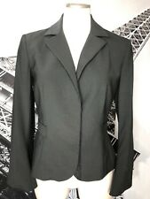 Fendi Womens 42 Green Wool Blend Button Front Long Sleeve Classic Blazer J