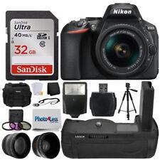 Nikon D5600 Black DSLR Camera w/ 18-55mm VR + Battery Grip 32GB + Accessories