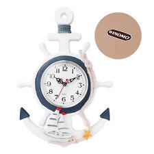 Wall Hangings Anchor Clock Mediterranean Nautical Ship Rudder Steering Wheel