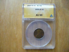 1931- S LINCOLN WHEAT EARS  ONE CENT COIN ANACS AU 50
