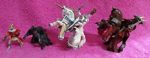 Papo 4 Knights King & 2 Horses Unicorn Action Figure Lot of 6