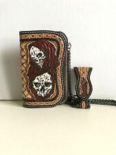Portefeuille biker artisanal en cuir repoussé (16cm) motif: skull, reaper