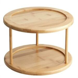 Round Bamboo Turntable Cabinet Organizer 2 Tier Spice Rack Removable Organizer