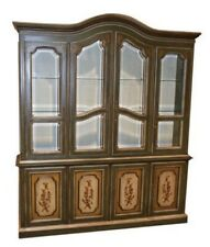 Vintage Drexel Two Piece Venetian Style China Cabinet w/Beveled Glass Doors