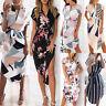 Damen Boho Partykleid Midikleider V-Ausschnitt Strandkleid Tunika Sommerkleid