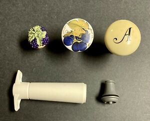 Assorted Wine Cork Stoppers and Vacu Vin Winesaver Lot