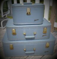 Vintage 1950's Starline Baltimore Luggage set Mist Blue 3 piece set with keys