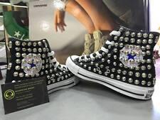 Converse All Star Alte Nere personalizzate con Borchie Grigie Clean teschi full