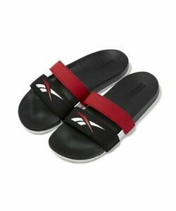 Reebok FV8821 UNISEX Classic Double Strap Comfort Slide slippers Black/Red