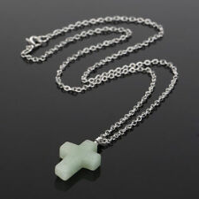 "Women's 925 Sterling Silver Jade Crystal Stone Cross Pendant 18"" Chain Necklace"