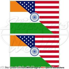 USA United States America-INDIA American & Indian Flag 75mm Stickers Decals x2