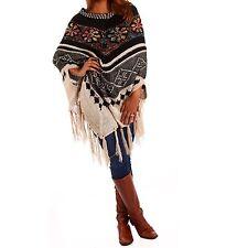 3/4 Arme Damen-Pullover & Strickware im Ponchos-Stil mit Rundhals ohne Verschluss