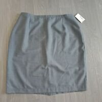 Montecassini Wool Blend Skirt Pencil Straight Lined Work Grey Plus Size 24 BNWT