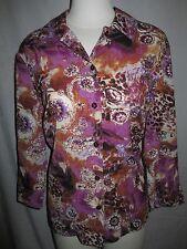 KORET Women's Top Blouse 3/4 Sleeve Size MEDIUM M Floral Purple Brown Beige