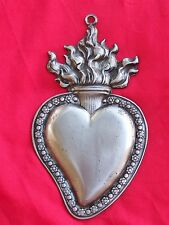 Large Tin/Silver Flamed Sacred Heart Milagro Ex Voto