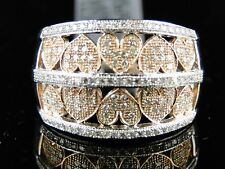 White Rose Finish Ladies 2 Tone Diamond Heart Band Ring