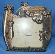 """Kenrich Metal Works Coll. Noah's Ark Pewter Baby Picture Photo Frame 5 """" x 5"""""""