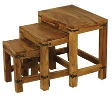 Jali Solid Sheesham Indian Rosewood Nest Of 3 Tables Fully Assembled