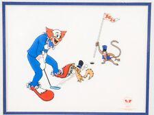 1992 Limited Edition Larry Harmon Boxo The Clown Golf Serigraph Art Cel