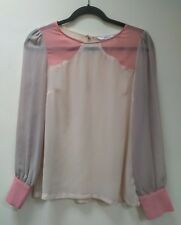 NEW LOOK Sheer COLOURBLOCK Blouse in Cream, Peach and Taupe | Size 8 | FREE SHIP