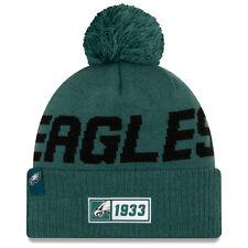 Nfl Philadelphia Eagles Road Sideline 2019 Bobble Woolly Hat Cuffed Knit Newera