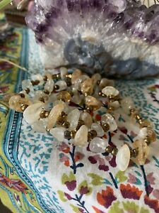 Citrine Bronze Beaded Stretch Bracelet Healing Energy Crystal Jewelry Natural