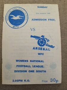 Brighton and Hove Albion Ladies v Arsenal Womens programme.  10/11/1991