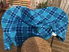 More details for welsh blanket large wool reversible tapestry blue green collectible