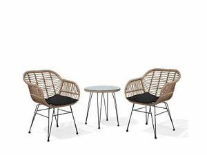 Modern 3PC Poly Rattan Bistro Set Weave Tempered Glass Top Tropea