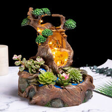Resin Flowerpot Succulent Plants Planter Pot Childhood Tree House With Light