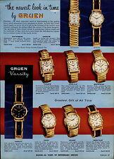 1957 PAPER AD 4 PG Gruen Wrist Watch Varsity Thorpe Browning Autowind Barrister