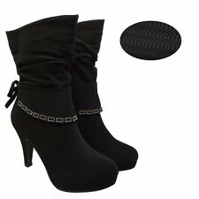 WOMENS LADIES BLACK DIAMANTE MID CALF BOOTS HIGH HEELS GRIP SOLE SHOES SIZE