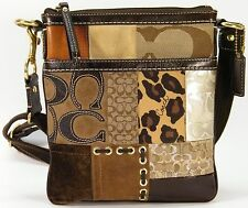 COACH PATCHWORK LACED SWING PACK CROSSBODY BROWN LEATHER SMALL PURSE HANDBAG BAG