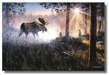 """Moose Misty Sunrise """"Walk In The Mist"""" ByJim Hansel 18x12 WallArt Print Picture"""