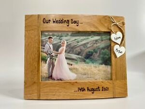 Our Wedding Day / Date   Personalised Oak Wood Photo Frame