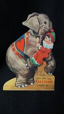 Vintage Circus Elephant and Clown Valentine Card c. 1930s