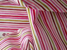 Loralie Fabric Garden Stripe White / Multi pink red green cotton craft quilt BTY