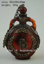 China old Tibet silver amber carved butterfly Buddha statues snuff bottle